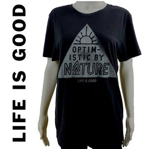 Life is good Black Tee Optimistic by Nature Medium